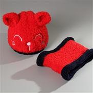 new style Korean style Autumn and Winter hat cat set knitting velvet Modeling woolen