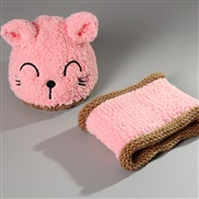 new style Korean style Autumn and Winter hat cat set knitting velvet Modeling woolen