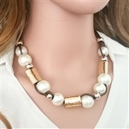occidental style fashion fashion   big Pearl weave necklace woman clavicle chain