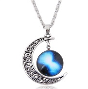 I occidental style fashion   retro silver hollow day Moon   personality lady necklace
