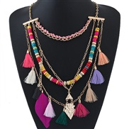 occidental style trend  Metal Bohemian style multilayer tassel temperament short style necklace