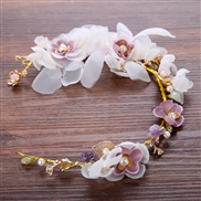bride handmade flowers head  beads color belt  bride
