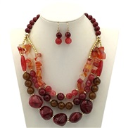 occidental style necklace  exaggerating double color handmade beads multilayer clavicle chain
