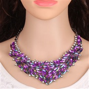 occidental style diamond Colorful four color necklace