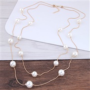 Korean style fashion  Ladies elegant generous large pieces Pearl snake Double layer necklace sweater chain