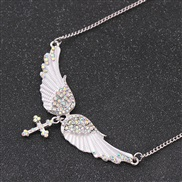 occidental style exaggerating fashion angel diamond pendant necklace wings cross long style sweater chain