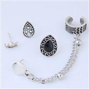 occidental style fashion  Metal wind chain drop crown asymmetry set ear stud