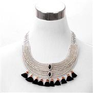 occidental style exaggerating  retro hollow gem tassel necklace