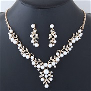 occidental style fashion  Metal concise all-Purpose Pearl personality necklace ear stud set