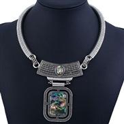occidental style fashion fashion woman square pendant chain retro leopard necklace