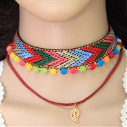 occidental style trend all-Purpose ethnic style geometry rope Double layer personality chain lady necklace