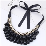 occidental style trend  Metal all-Purpose drop crystal concise collar necklace