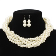 occidental style fashion Pearl weave necklace fashion