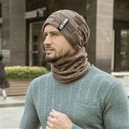 hat hedging set velvet thicken woolen man occidental style autumn Winter man knitting