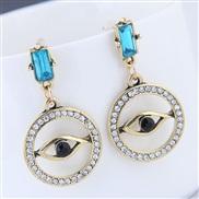 occidental style fashion  Metal flash diamond eyes personality ear stud