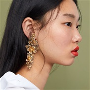 (51743) geometry flowers exaggerating Metal gold earrings woman occidental style long style earring