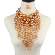( Gold)occidental style   exaggerating necklace  multilayer apparel Pearl tassel statement
