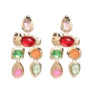 (51765) tassel earring mosaic Rhinestone drop ear stud