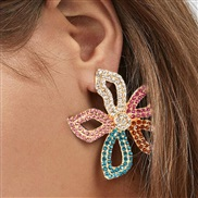 ( Color) occidental style fashion temperament petal flowers ear stud earrings