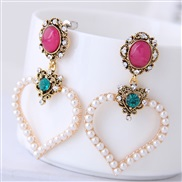 fine  Korean style fashion  Metal concise sweet concise Peach heart temperament ear stud