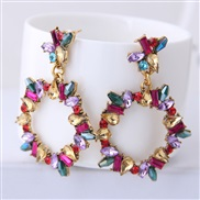 occidental style fashion   Metal concise circle bright gem exaggerating ear stud