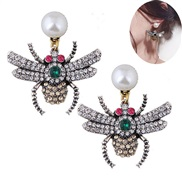 occidental style fashion  Metal bright insect temperament personality exaggerating ear stud