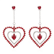 ( red)E woman style fashion temperament fully-jewelled love earring Heart to Heart earrings woman