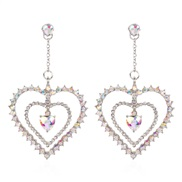 ( AB white) woman style fashion temperament fully-jewelled love earring Heart to Hea
