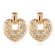 ( Silver)occidental style exaggerating Metal geometry love earrings Autumn and Winter temperament earrings Korean style