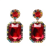 ( red) new fully-jewelled geometry earrings occidental style lady ear stud