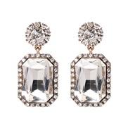 ( white) new fully-jewelled geometry earrings occidental style lady ear stud