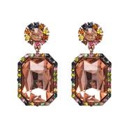 ( Pink) new fully-jewelled geometry earrings occidental style lady ear stud