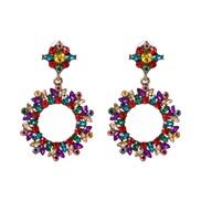 (51603) occidental style wind sun flower earrings high-end Alloy diamond earring