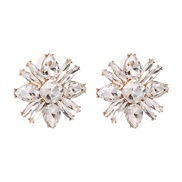 ( white) occidental style wind personality earrings high-end Alloy diamond earring