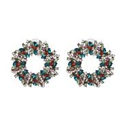 ( green) fully-jewelled earrings occidental style ear stud