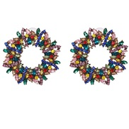 ( Color) fully-jewelled earrings occidental style ear stud