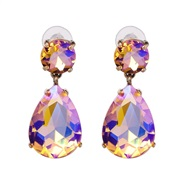 ( ColorAB) drop earrings occidental style style embed glass multicolor earring