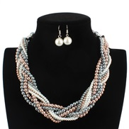 ( Mixed color)occidental style  luxurious temperament  all-Purpose Pearl  handmade weave  short style necklace F