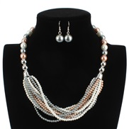 ( Mixed color)fashion occidental style  multilayer Pearl color color multilayer necklace F