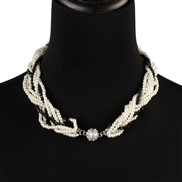 ( black)fashion occidental style retro exaggerating multilayer white Pearl crystal weave necklace