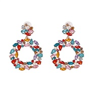 ( Color)UR occidental style wind Round fully-jewelled earrings high-end earring