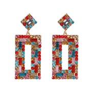 ( Color)UR long square diamond earrings occidental style fashion high-end personality earring