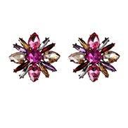( Rose pink)flowers diamond arring     crystal earrings