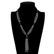 Korean style beads Pearl sweater chain  woman long necklace  tassel F