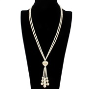 Korean style Pearl retro long style sweater chain  Bohemia ethnic style necklace woman F