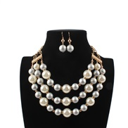 occidental style fashion  multilayer exaggerating imitate Pearl  lady temperament necklace  sweater chain