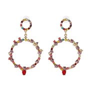 UR new fully-jewelled circle earrings occidental style wind lady ear stud