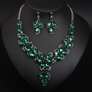 ( green)( red)  crystal gem flowers clavicle necklace earrings set occidental style