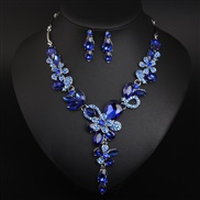 ( blue)( green)  occidental style crystal flowers necklace earrings set gem  woman fashion banquet