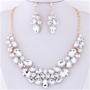 occidental style fashion  Metal bright gorgeous gem temperament exaggerating necklace  ear stud set